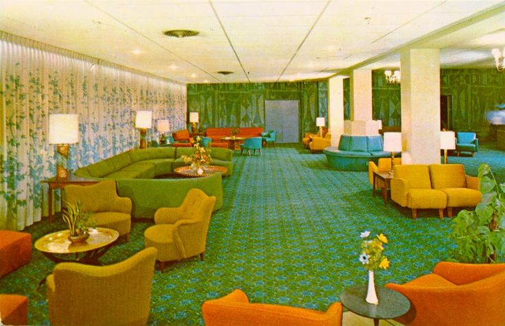 1950s lebowitz pine view hotel lobby lebowitz pine view for Vintage hotel decor