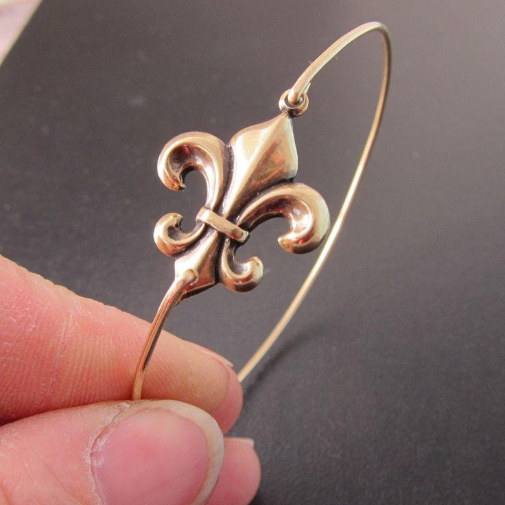 Bangle Bracelet Fleur de Lis  Gold by FrostedWillow on Etsy.