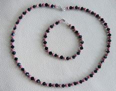 Rhodoniet - Zwarte Spinel edelsteencollier met Armband