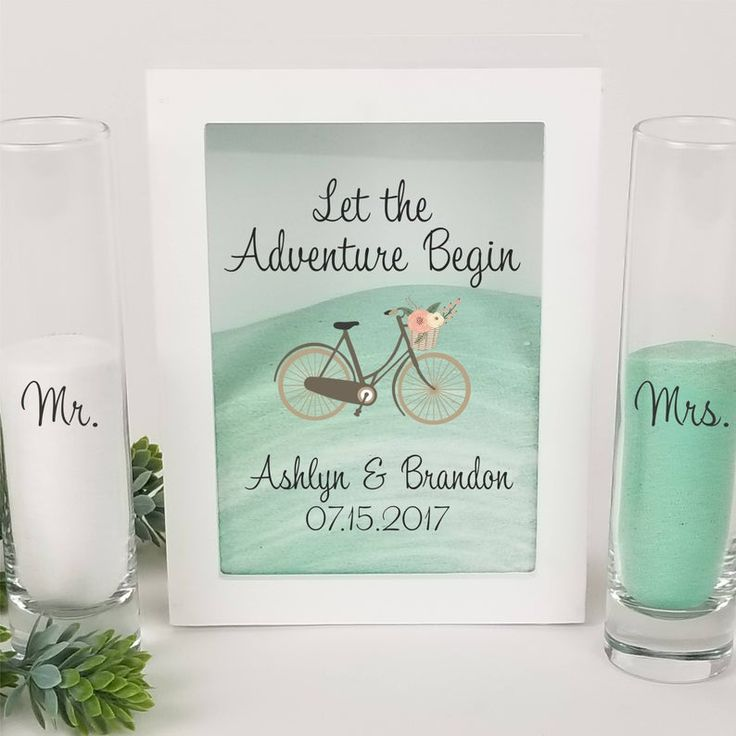 Beach Wedding Candle Ceremony: Vintage Bicycle Theme Wedding Set, White Shadow Box, Unity