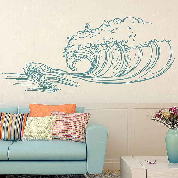 wave Wall Decals Ocean Wave Wall Decals Ocean beach Waves Wall Stickers Ocean Wall Decals sea Wall Decal Stickers for Bedrooms kik3418