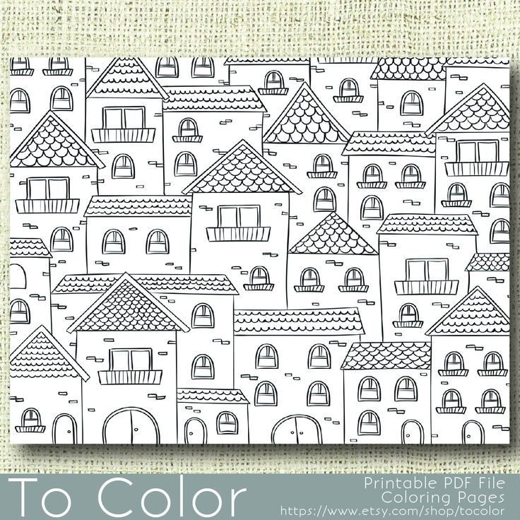 Coloring Pages For Grown Ups Pdf : Printable houses coloring page for adults pdf jpg