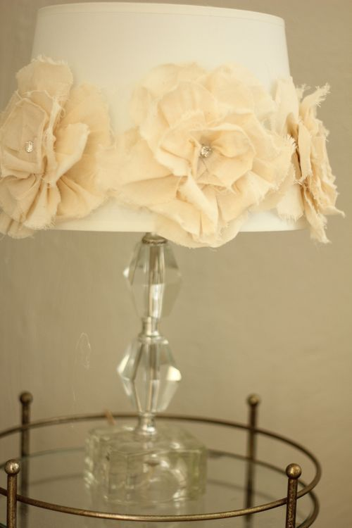 DIY add burlap underneath... flower petaled lampshade. Would look even better with ruffles 2.