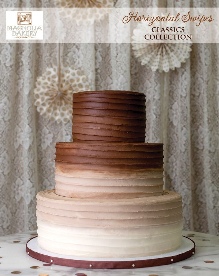Horizontal Swipes Chocolate Wedding Cake from the Classics Collection at Magnolia Bakery