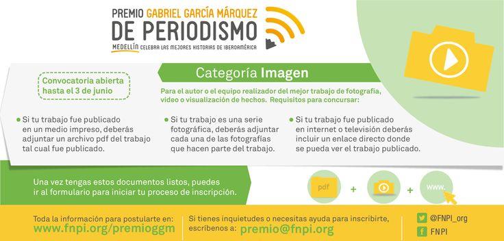 En la categoría Imagen pueden concursar trabajos de fotografía, video o visualización de hechos, que sobresalgan por la eficacia informativa y estética en la utilización de imágenes como lenguaje esencial del relato periodístico.  Aquí toda la información para participar en el #PremioGGM: http://www.fnpi.org/premioggm/