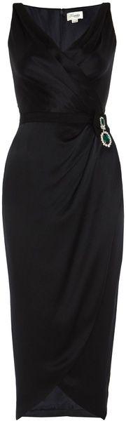 Temperley London Sculpted Black satin  Vintage Style Dress