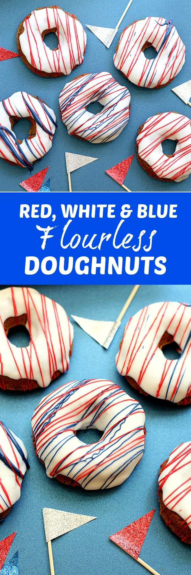 Healthy donuts recipe spiced like sweet cake and are a gluten free, dairy free flour-less moist and fluffy dessert food or breakfast treat! Baked and topped with red, white and blue icing for anytime or patriotic festivities! | Delightful Mom Food | #patriotic #redwhiteblue #fourthofjuly #memorialday #laborday #holiday #recipe #dairyfree #glutenfree #flourless