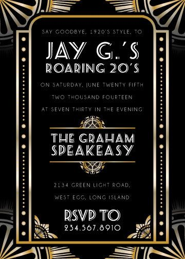 The new 1920's art deco party invitations!  Great for a Gatsby or prohibition theme party, wedding, etc.