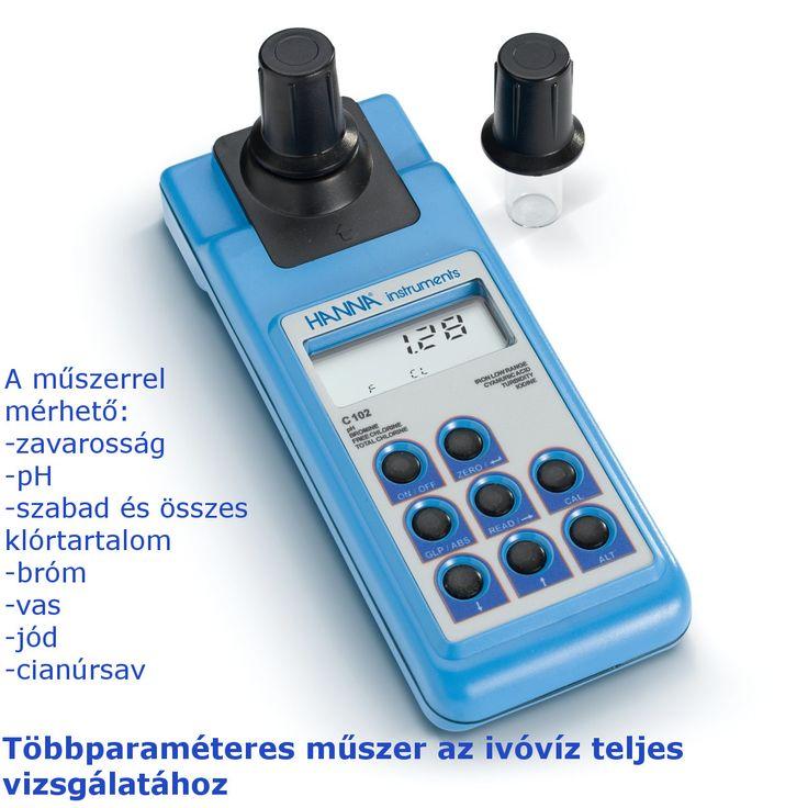 A Hanna HI93102-es hordozható műszer segítségével többparaméter is mérhető az ivóvízben, mint pl.:zavarosság, pH, klór, vas, stb.