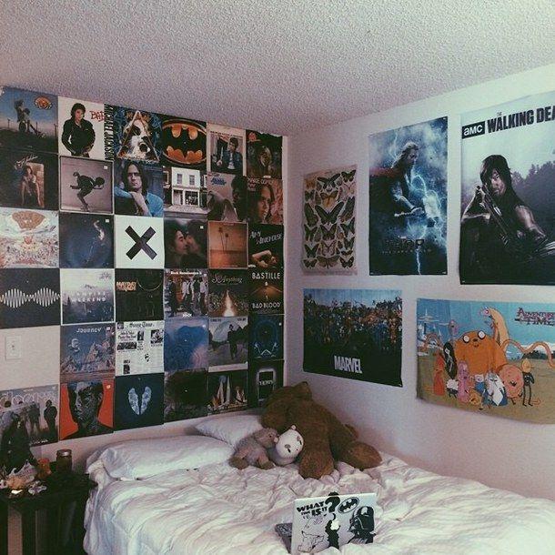 black, grunge, lp, posters, punk, rock, room, style, vinyl, vinyls, wall