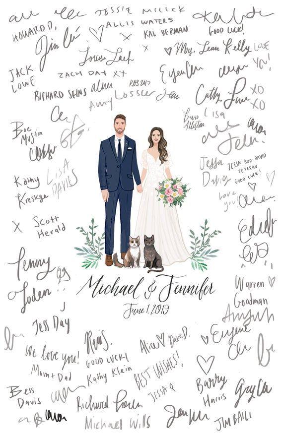 Custom Illustrated Wedding Guest Book Guest Book Portrait Alternative Digital File Wedding Guest Book Custom Wedding Guestbook Wedding Guest Book Alternatives