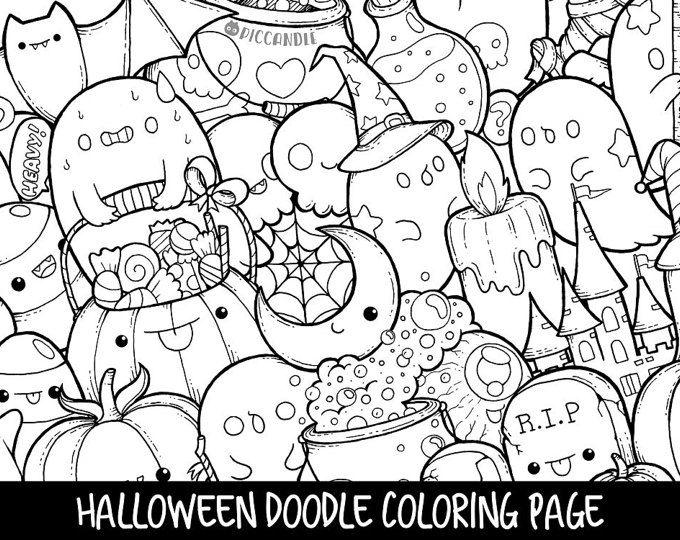 Halloween Doodle Coloring Page Printable Cute Kawaii Coloring