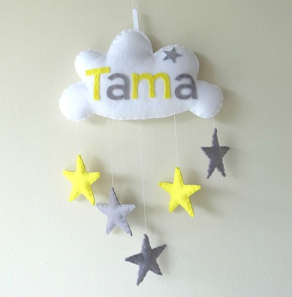 Star Cloud- Personalized Baby Mobile, Wall Hanging, Door Sign