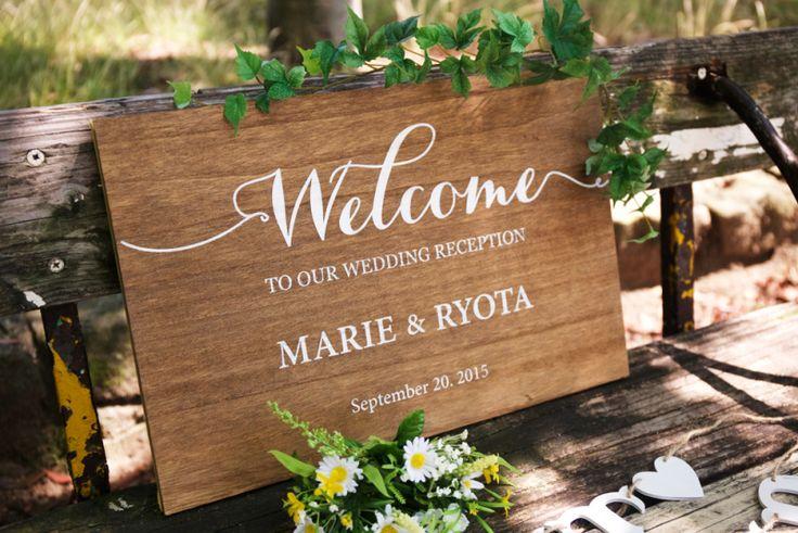 木製 ウェルカムボード Wood welcome wedding board.