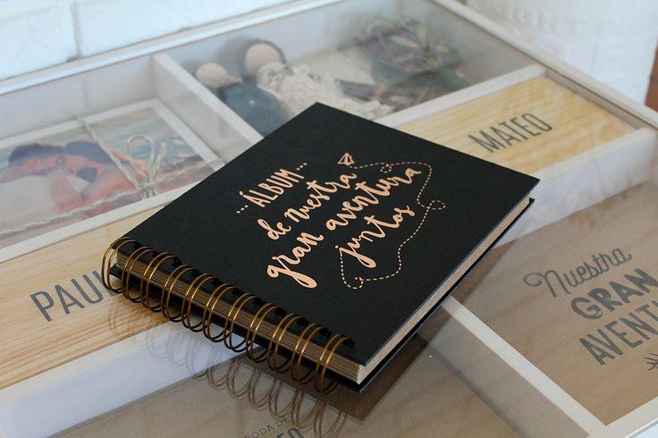 Love Story Box. Álbum tradicional. Portada en stamping. Collage de los billetes de viaje de novios, entradas y todos tus recuerdos.