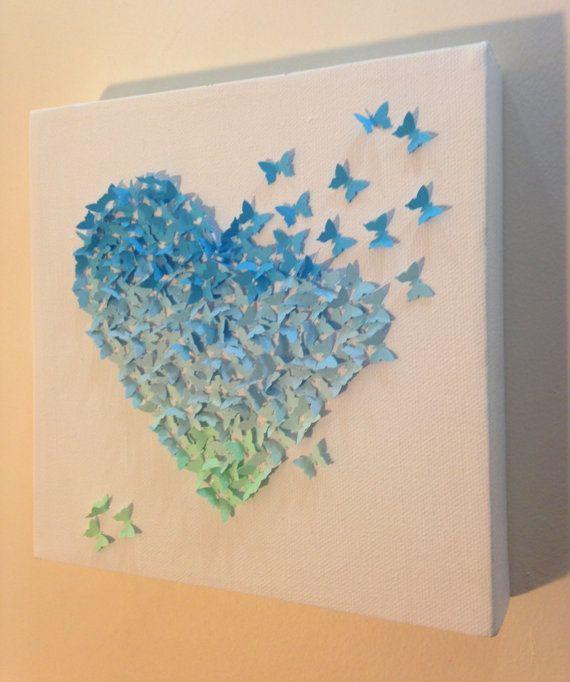 Blue ombre butterfly heart / 3D paper art