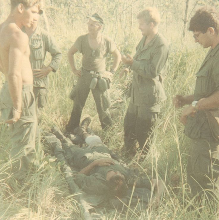 Sam Luna lays on a gurney after he was wounded in Vietnam on July 31, 1968.
