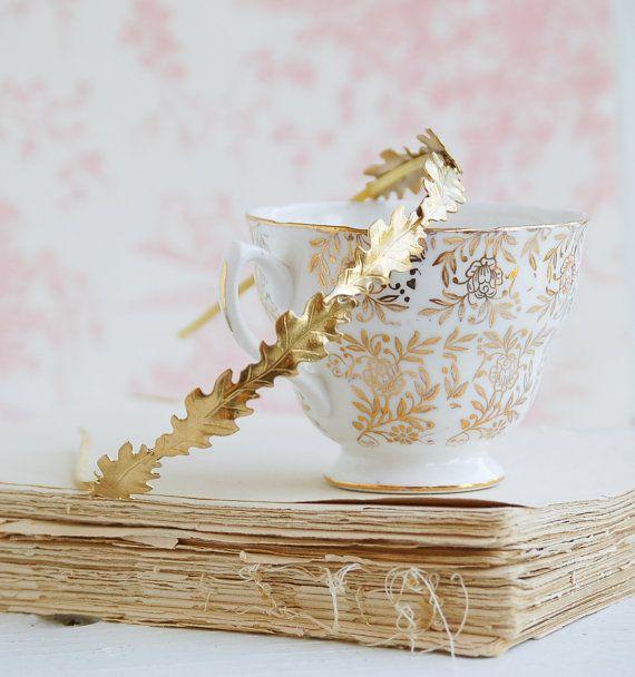 Gold Oak Leaf Headband Woodland Wedding Gold Leaf…Edit description