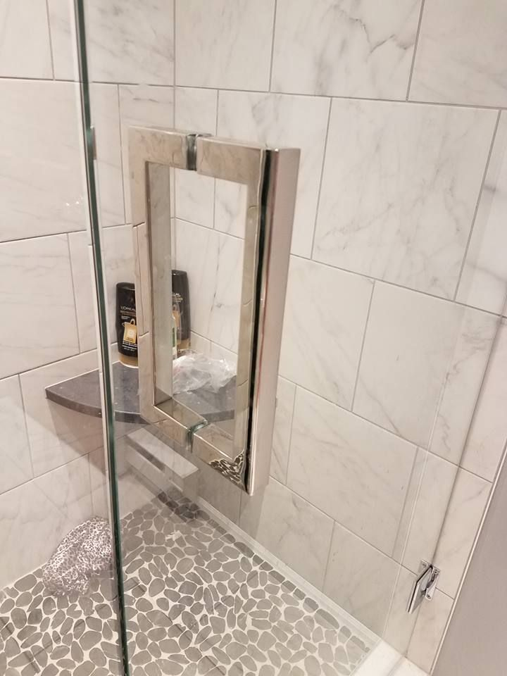 Tile Shower Featuring A River Rock Floor With A Marble Like Wall Tile U0026  Abalone Part 36
