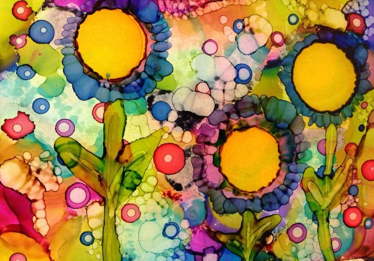 sharpie + alcohol canvas art | Day 181: Happy Flowers in Alcohol Ink on Yupo paper
