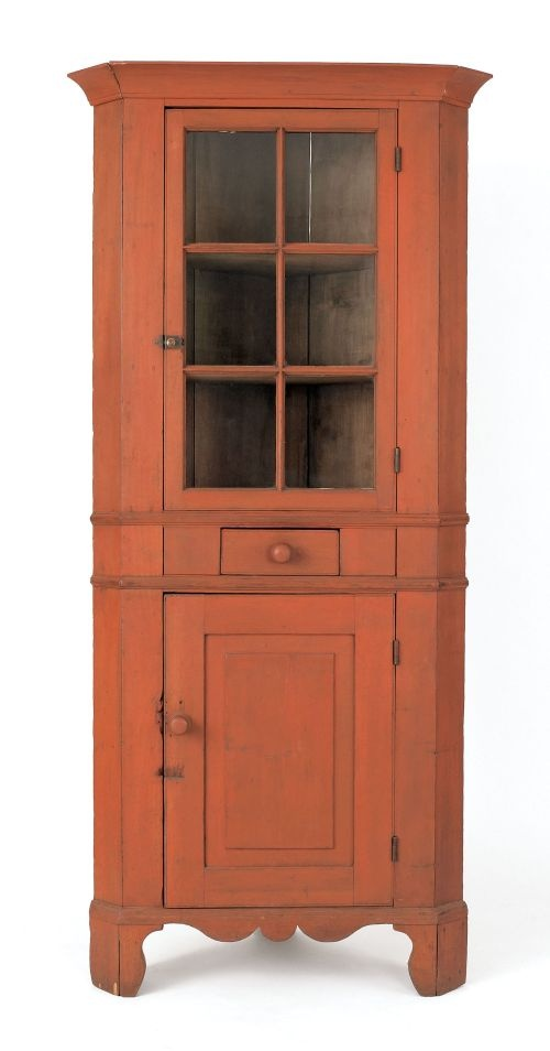 Diminutive Pennsylvania One Piece Corner Cupboard, 19th C., Retaining An  Old Red