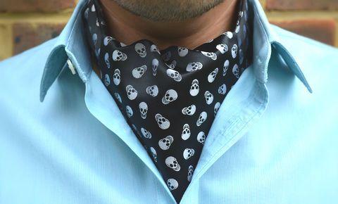 VICTOR Woven Silk Cravat #cravat #ascot #tie #daycravat #silkcravat #silk #cravats #ascots #madeinengland #wedding #groom #groomswear #weddingideas #idea #grooms #style #weddingstyle #outfit #inspiration #weddingguest #guest #usher #ushers #buybritish #accessories #dapper #gentleman #cravatclub #skulls #skull #skullpattern #pattern #print #skullprint #gothic #metal #rock #rocker #skullcravat