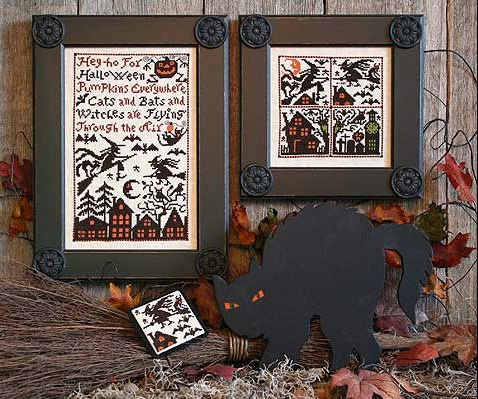Cross stitch pattern Cats Bats and Witches