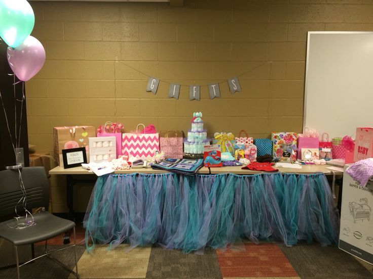 table for work baby shower purple teal and grey theme baby shower
