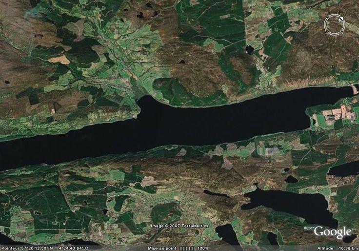 """Le repère lac du Loch Ness.    Coordonné GPS de Lac du Loch Ness : 57°20'10.89"""" N 4°24'37.54"""" W"""