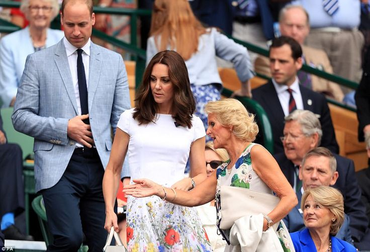 The Duchess of Cambridge, 35, looked perfectly summery in a white poppy print dress as she took her seat in the Royal Box on Centre Court to watch her family friend play.