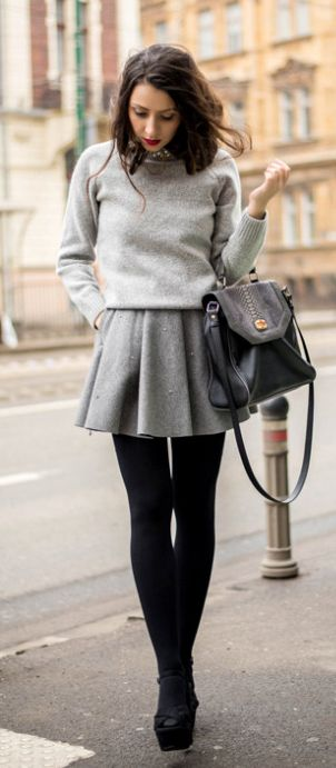 Grey pleated skirt outfit + spring style + Laura Chabara. Outfit: Chicwish.