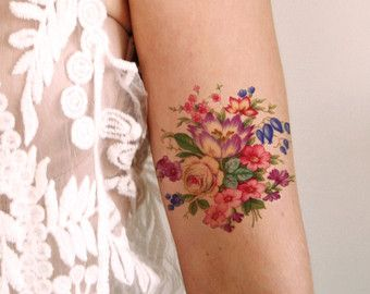 Floral temporary tattoo / Colorful temporary tattoo by Tattoorary