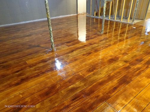 Wood Concrete Basement Floor