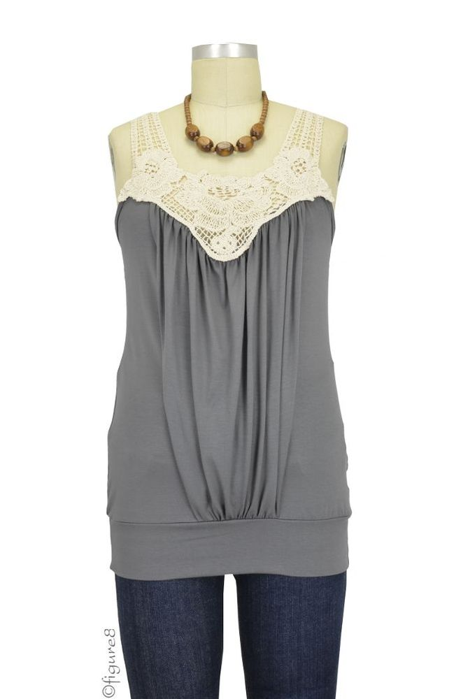 I'm totes NOT nursing.  But I do think this is adorable!! Crochet Nursing Tank in Smoke/This site has amazing nursing tops