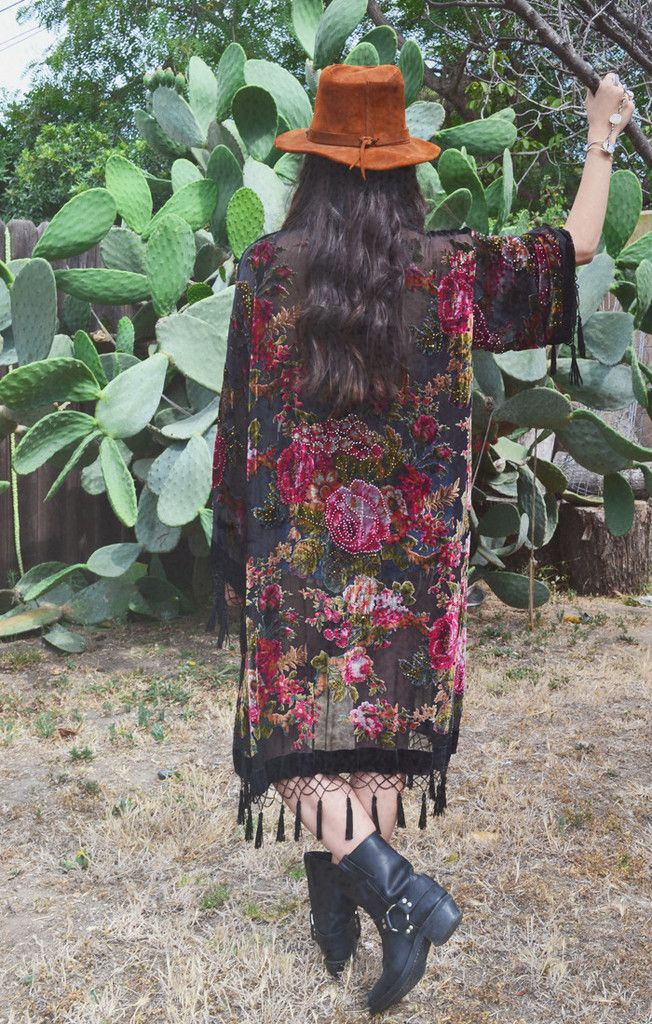 Gypsy Rose Velvet Burnout Tassel Kimono GYPSY ROSE