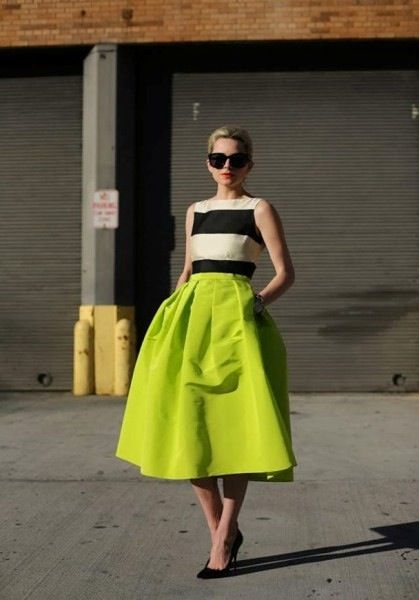 Really Love this midi skirt in bright neon color with black and white color block top.