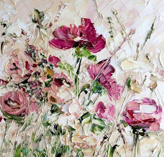 Vanille Himmel Rosa Rot Beige Weiß Kunst Original…