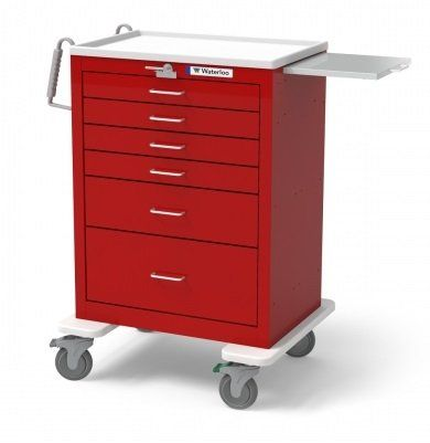 """MSEC by Waterloo, QUICK SHIP PROGRAM, 6 Drawer Tall Steel Emergency Cart, Red  Options: • Antimicrobial properties integrated • Ball bearing slides with fast liberate • Twin push ergonomic handles • ABS plastic molded best • five""""casters (1)swivel, (2) swivel w/brake, (1) swivel w/ tracking • Exterior colour: red • Latex free Please …  Read More  http://industrialsupply.mobi/shop/msec-by-waterloo-quick-ship-program-6-drawer-tall-steel-emergency-cart-red/"""