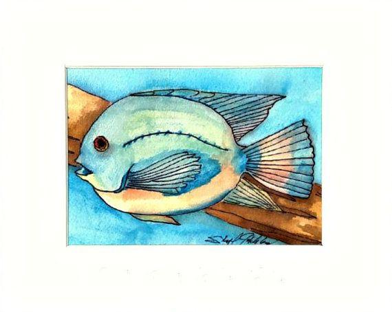 Tropical Jewel Orchid Fish Original, 8x10 Matted Original #handmadegifts #giftideas #watercolorpainting
