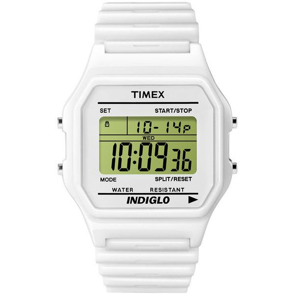 Timex 'T80' Plastic Digital Watch White One Size (96 BRL) ❤ liked on Polyvore featuring jewelry, watches, accessories, fillers, fillers - white, women, dial watches, white digital watch, polish jewelry and white jewelry