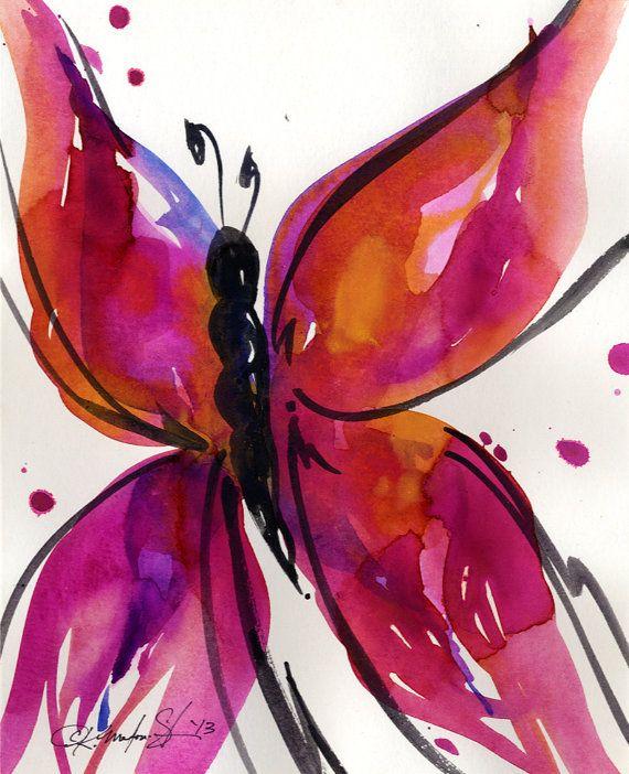 Canción de la mariposa 29... Pintura de ooak por KathyMortonStanion