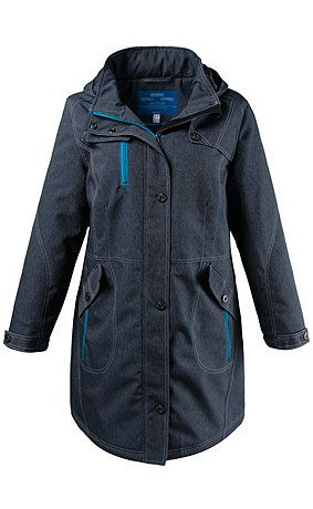 Parka in a sporty denim look with 3 functions: wind-proof, DWR water-repellent and breathable. Longer fit with curved dividing seams, removable hood, stand-up collar, and 2-way zipper. Also features zipped chest and flap pockets and long sleeves with adjustable straps. Lining is brushed for extra warmth and includes zipper pocket and adjustable drawstring waist. Outer fabric and lining are made of <br />
