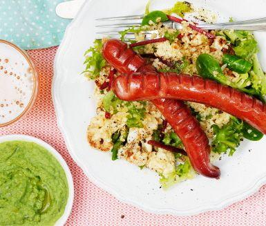 Recept: Merguez med grön ärthummus och kumminrostad blomkål
