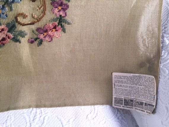 Preworked needlepoint bench cover size flora
