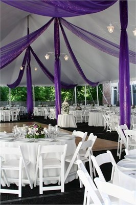 Obviously not wedding style, but the idea of casual kind of purple and white tablecloths???