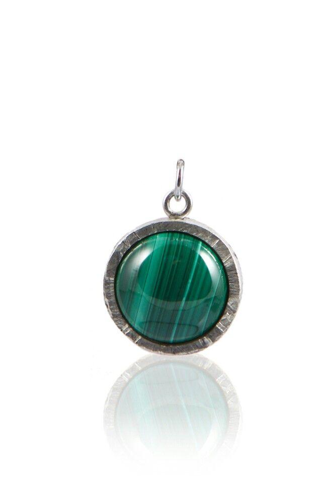 --- Malachite Necklace Pendant --- Silver 925, Handmade in Italy, Malachite Stone. WWW.MELFACTORY.IT