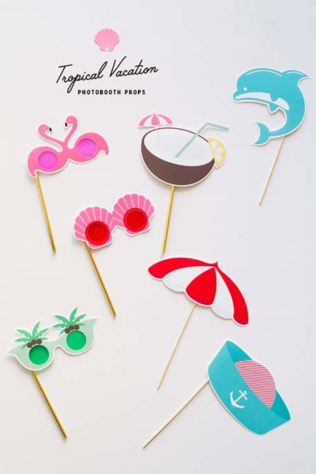Learn how to make these fun photo booth props with a festive, tropical theme.