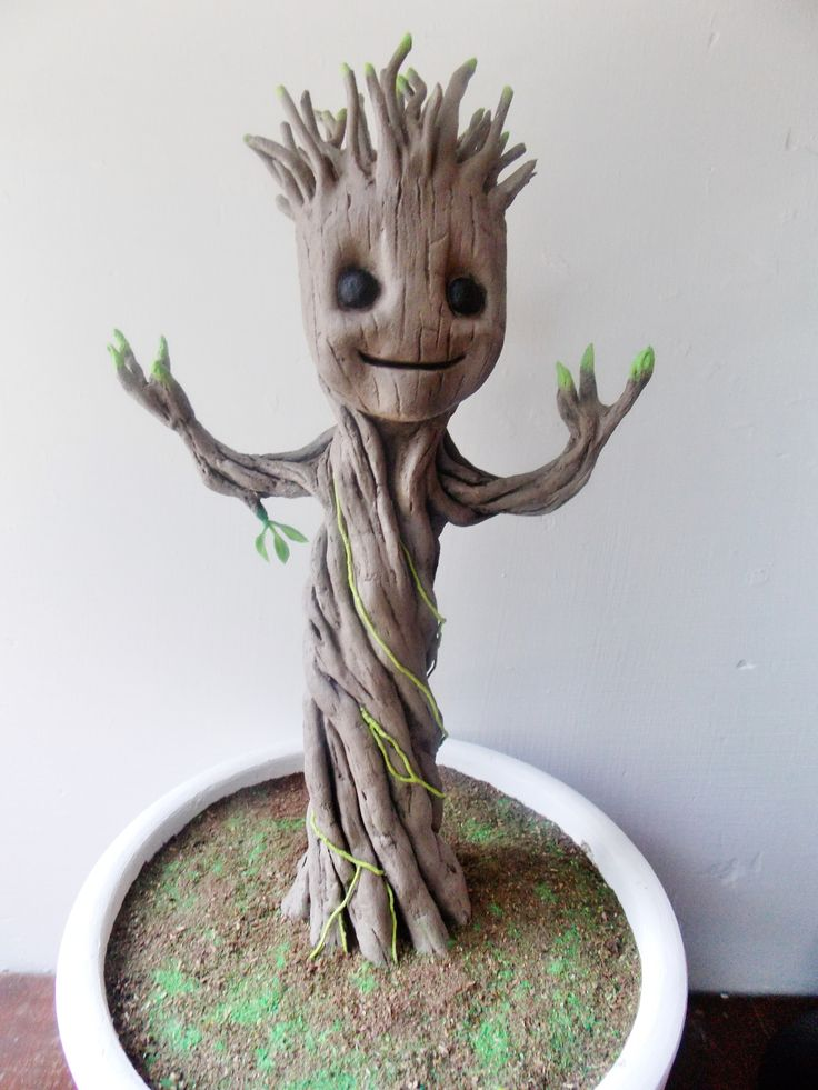 Baby Groot | Polymer Clay Critters | Baby groot cake, Baby ...