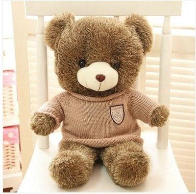 Чучела животных прекрасный плюшевый мишка 60 см хаки полосы свитер медведь плюшевые мягкие игрушки куклы подушка w3367