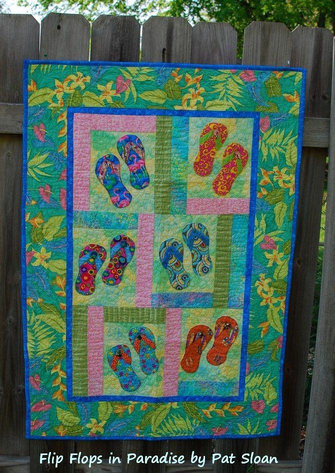 Pat sloan flip flops in Paradise  - i am so ready for summer... and this is my kick start the party quilt! come see why  http://blog.patsloan.com/2014/05/pat-sloan-time-for-paradise.html